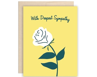 Rose Sympathy Greeting Card Condolence Greeting Card Sorry for Your Loss Compassion Card At Peace Card Condolences Card Simple Sympathy Card