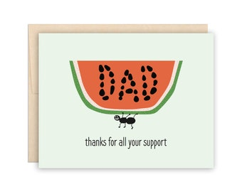 Dad Watermelon Father's Day Card, Funny Dad Card, Dad Birthday Card, Dad Thank You Card, Father Birthday Card