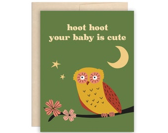 Funny Owl New Baby Card, Hoot Hoot Your Baby is Cute New Baby Arrival Card, Baby Shower Card, Cherry Blossoms, Owl Baby Card, Night Owl Card