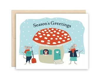 Cute Mouse Mushroom Christmas Card - Storybook Holiday Card, Card for Teacher, Card for Parents, Card for Coworkers, Season's Greetings