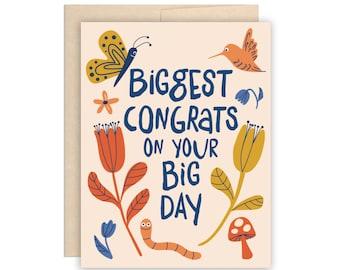 Big Nature Wedding Card, Fun Floral Wedding Congrats, Wedding Wishes Greeting Card, Happy Couple, Friend Wedding, Family Wedding Card