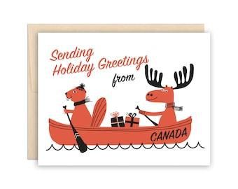 Funny Canada Christmas Card - Funny Canadian xmas Holiday Card - Canoe, Moose, Beaver, Rocky & Bullwinkle, Canadiana
