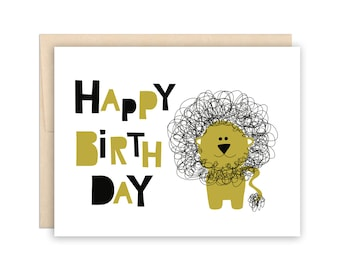Cute Lion Happy Birthday Card - Kid Birthday Greeting Card - Birthday Card for Boys, Card for Him, Card for Friend, Kid Birthday Card