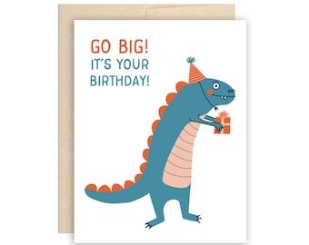 Big Blue Dinosaur Birthday Greeting Card - Cute Dinosaur Card, Card for Children, Birthday Card, Funny Birthday Card, Kid Dino Card