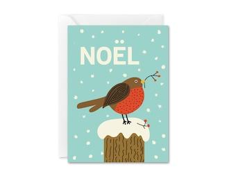 Noel Robin Mini Enclosure Christmas Card, Bird Holiday Card, Winter Robin Card, Modern Christmas Card, Cute Bird Christmas Card, Bird Xmas
