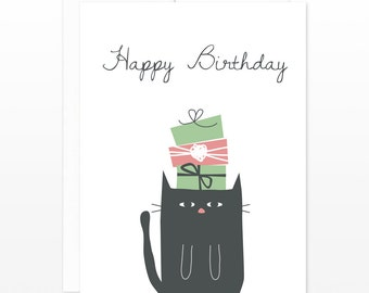Funny Black Cat Birthday Card - Cat Under Birthday Gifts Greeting Card - Funny Cat Card, card for cat lovers, funny birthday, card for her