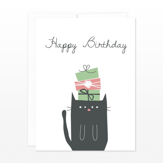 Funny Black Cat Birthday Card Under Gifts