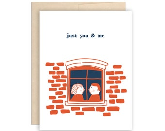 Cute Just You & Me Greeting Card, Funny Dating Card, Covid Love Card, Pandemic Card, Funny Social Distancing, Anniversary, Valentine's Day