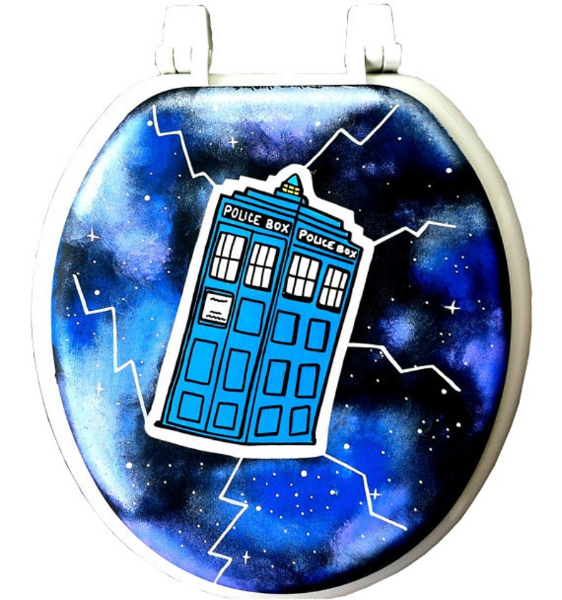 Doctor Who Tardis Hand Painted Toilet Seat Rock Bathroom Decor Etsy