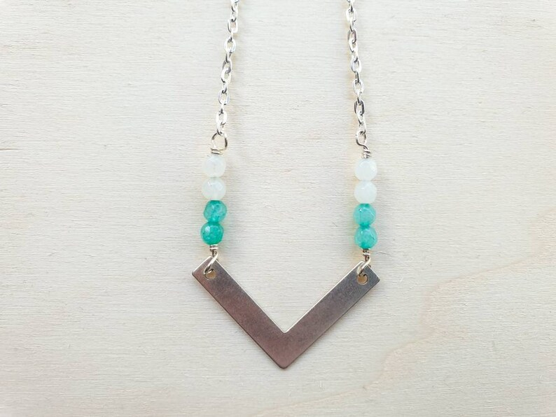 Geometric silver brass chevron necklace with green and mint image 0