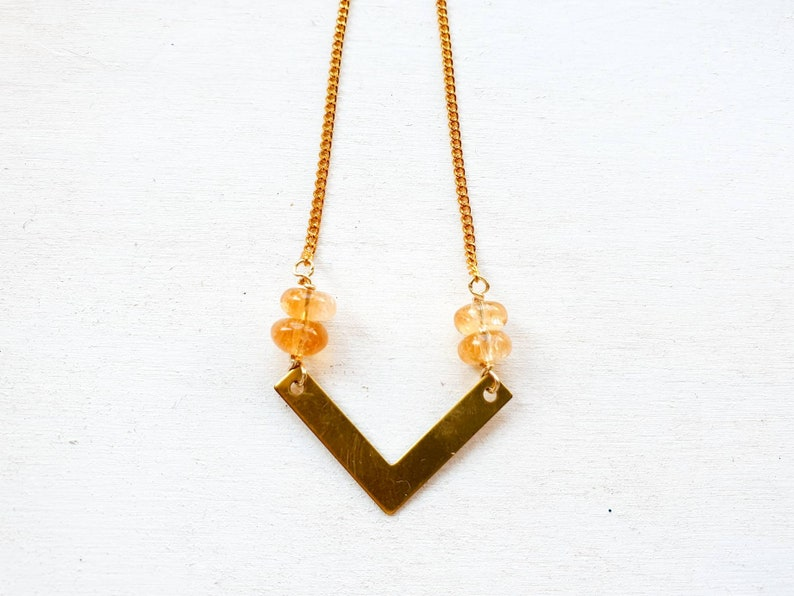 Geometric brass chevron necklace with citrine beads image 0