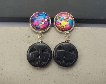 Black Halloween Pumpkin Party earrings with multi glitter bubble resin studs