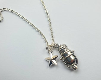 """Microphone necklace   Charm necklace on 18""""  silver finish chain with retro microphone and star charms"""