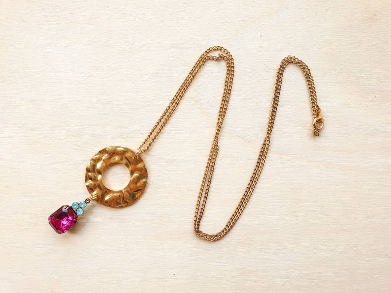Hammered brass circle necklace with vintage fuschia and aqua image 0