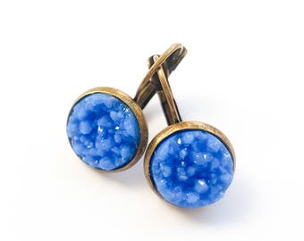 Blue lever back earrings with resin druzy stud.