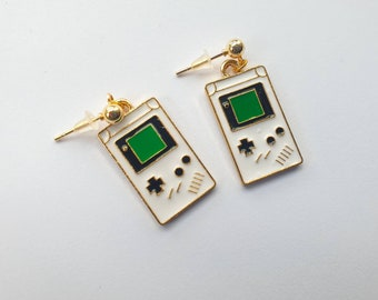 Gameboy charm earrings| | gold tone stud charm earrings