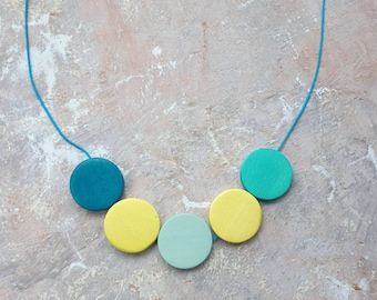 Blue Lemonade. Multicoloured colour pop necklace made from  wooden disc beads on adjustable cord