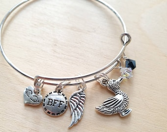 Crowley and Aziraphale BFF   Minimalist Charm Bracelet inspired by Good Omens