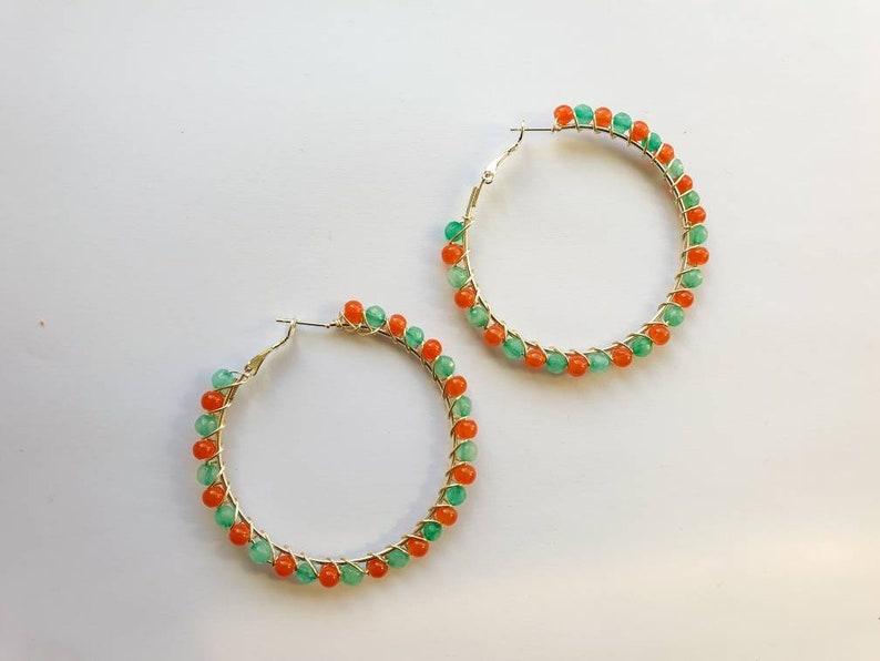 Large hoop earrings with candy jade beads in papaya and mint image 0