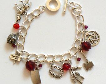 I'll Be Right Back... Scary Movie inspired Charm Bracelet. Spooky,  Halloween horror charm bracelet