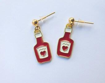 Ketchup charm earrings| Hot Sauce Earrings|