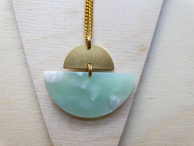 Geometric brass asymmetric semicircle necklace in mint marbled image 0
