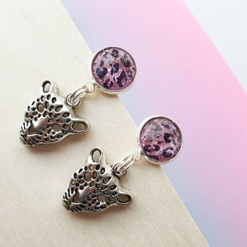 Silver leopard earrings Leopard charm earrings with pink image 0
