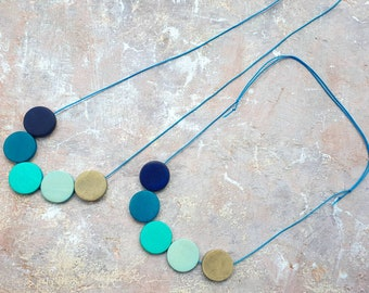 Longsands. Multicoloured colour pop necklace made from  wooden disc beads on adjustable cord