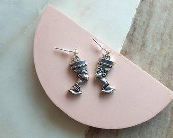 Nefertiti charm earrings  Ancient Egypt Earrings  silver tone stud charm earrings
