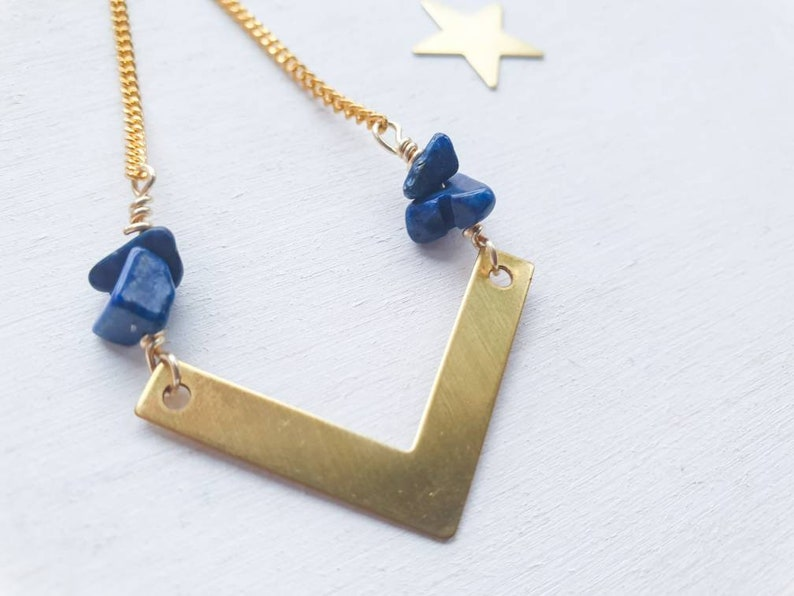 Geometric brass chevron necklace with blue lapis lazuli chip image 0
