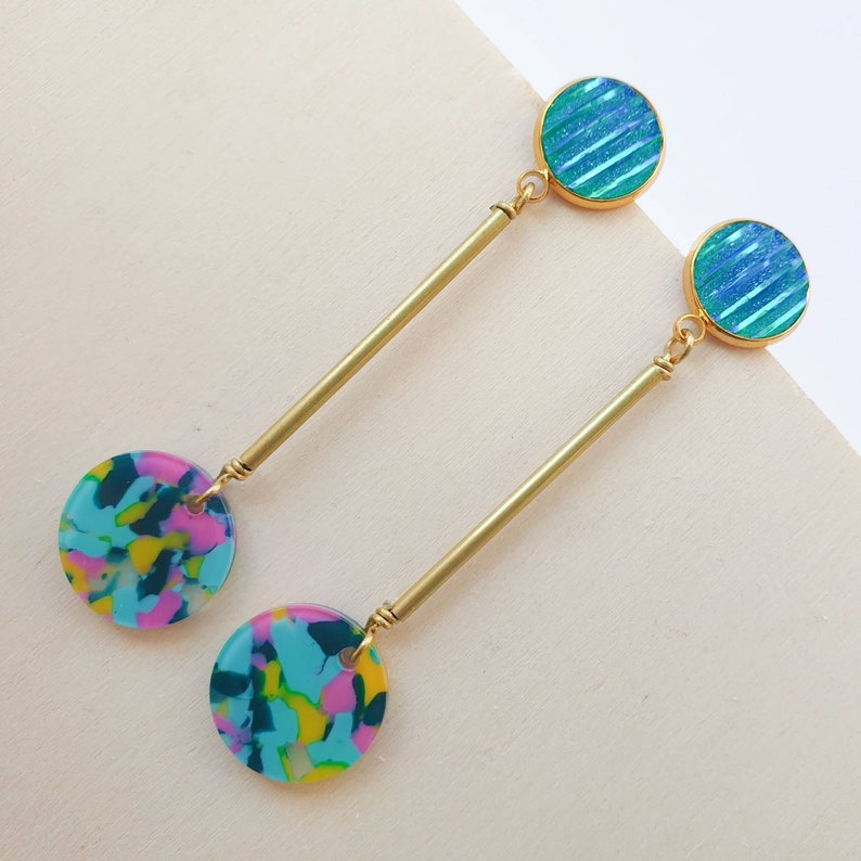 Long brass earrings with multicoloured neon discs with yellow image 0