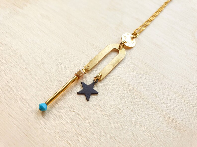 Celestial Geometric necklace. Star necklace with geometric image 0