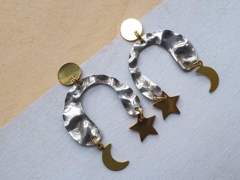 Selene night sky earrings. U shaped asymmetric arch earrings image 0