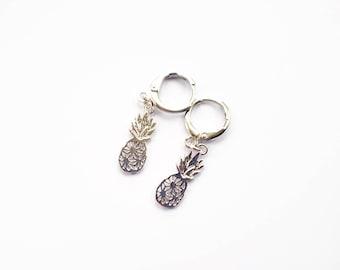 huggie mini hoop earrings with pineapple charms
