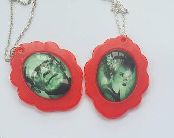 SECONDS Frankenstein /Bride of Frankenstein Halloween cameo pendants