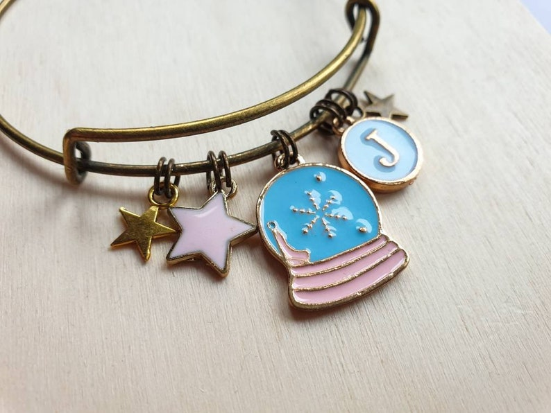 Snow globe charm bangle with personalized initial charm image 0