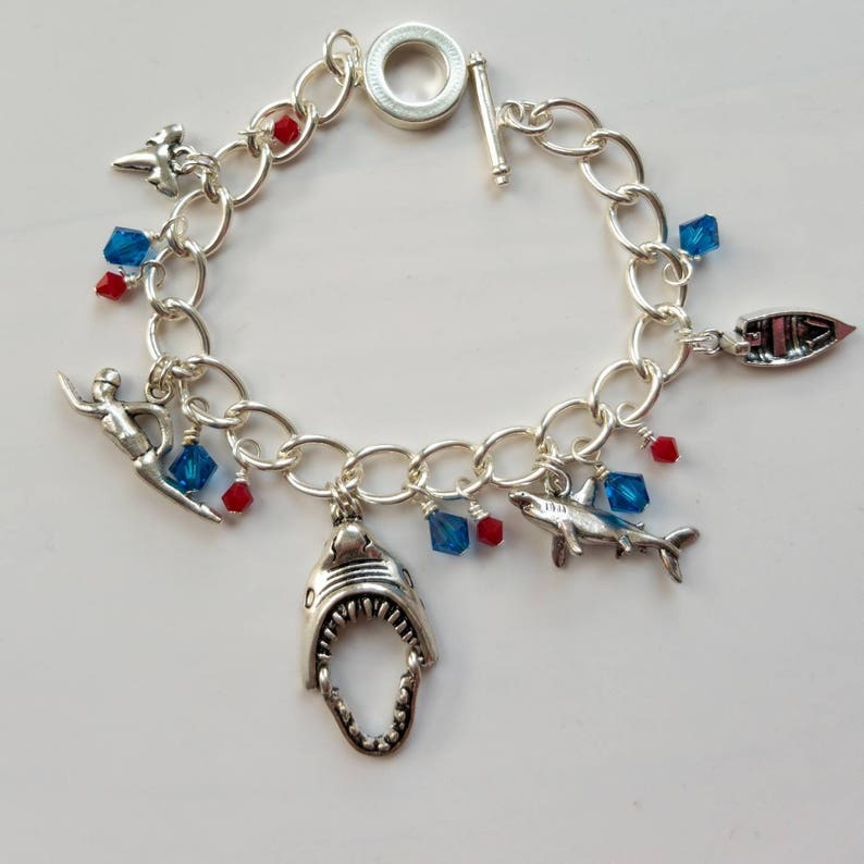 Shark in the pond Charm bracelet inspired by Jaws movie image 0