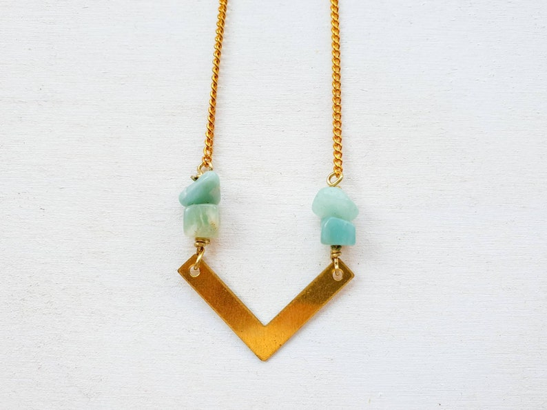 Geometric brass chevron necklace with light green adventurine image 0
