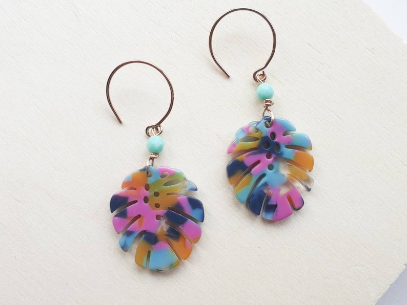 Monstera botanical leaf hoop earrings in multi coloured image 0