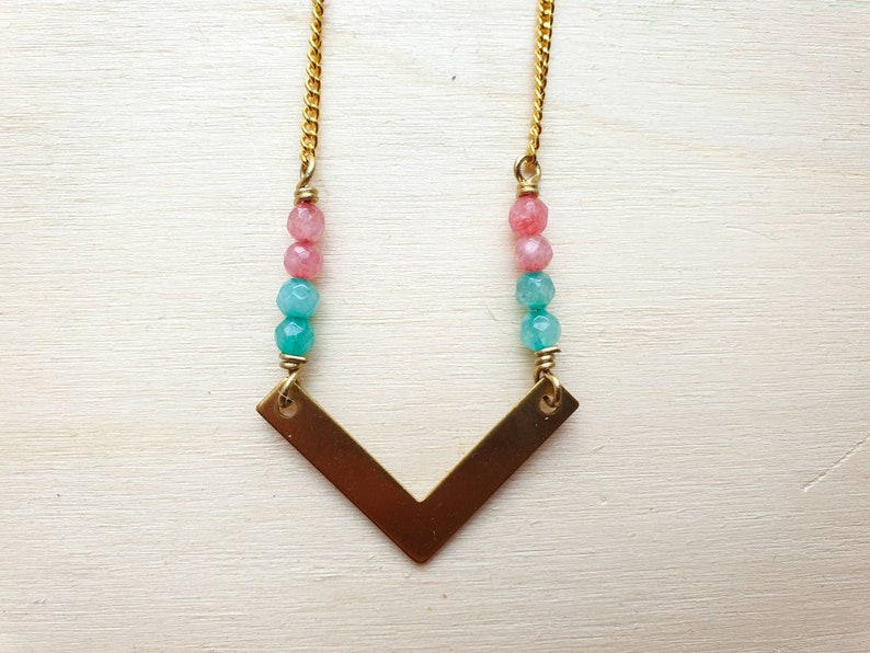 Geometric brass chevron necklace with aqua green and pink image 0