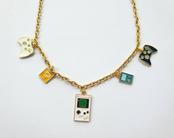 """Gamer charm necklace on chunky 18"""" gold finish chain"""