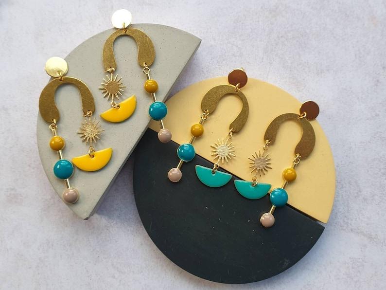 Zap Earrings Statement Structural Earrings Sunburst image 0