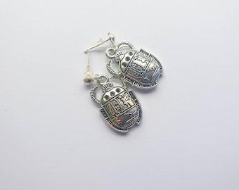 Scarab charm earrings  Ancient Egypt Earrings  silver tone stud charm earrings