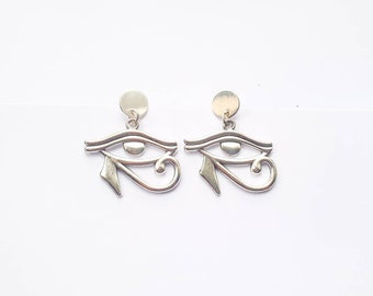 Eye of Horus charm earrings  Ancient Egypt Earrings  silver tone with large studs