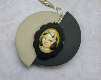 Portrait of a Masked Girl Picture Cabochon on black resin  setting