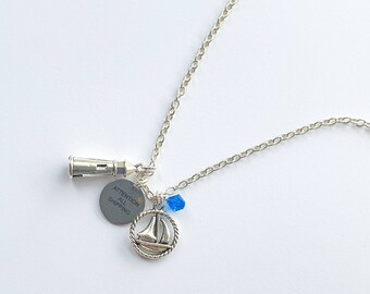 Attention All Shipping.   Shipping Forecast slogan charm necklace.