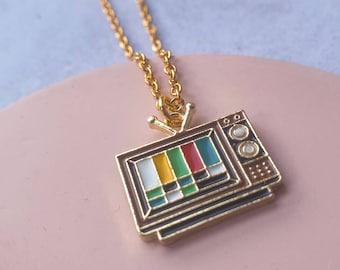 Retro TV Test Card Charm Necklace.