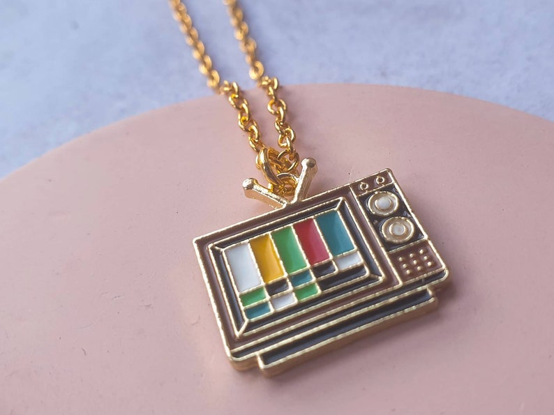 Retro TV Test Card Charm Necklace. image 0