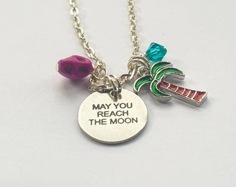 May you reach the moon necklace|Charm necklace with palm tree charm and magenta howlite skull. Inspired by Lady Love Dies of Paradise Killer