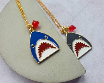 Shark enamel charm necklace with crystal blood drop accent | Blue or Grey Shark Necklace| Jaws fan necklace